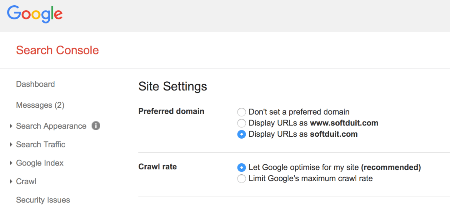 Setting the preferred domain in Search Console – add both www and non-www to verify